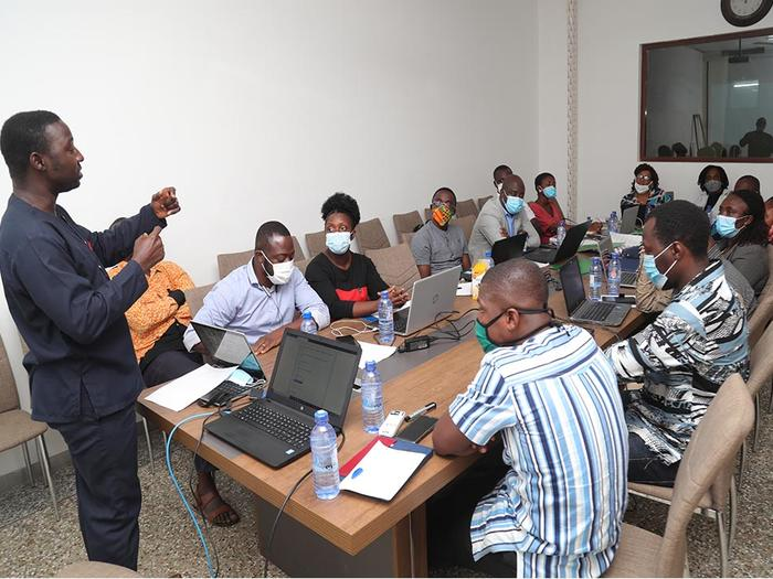 Mr. Isaac Nketsiah giving a presentation at the workshop